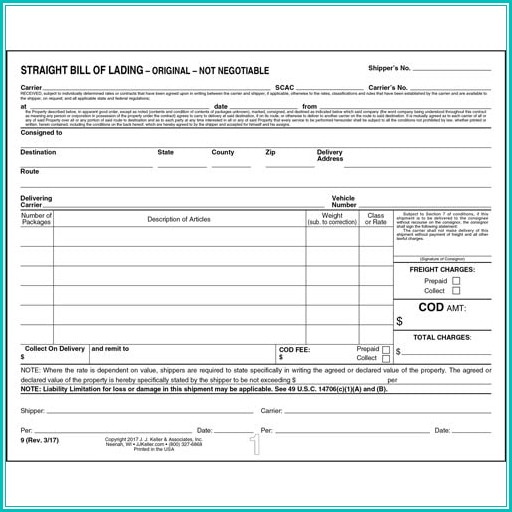 Straight Bill Of Lading Short Form