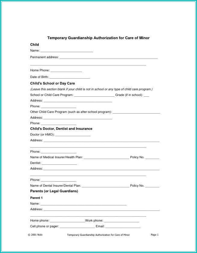 Temporary Child Custody Form Texas