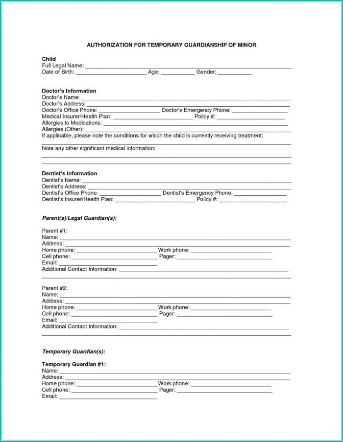 Temporary Guardianship Form For Grandparents