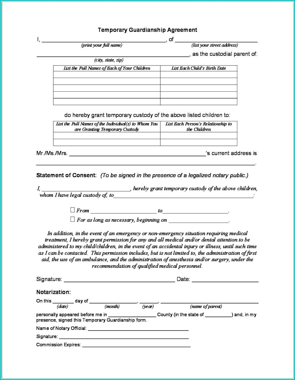 Temporary Guardianship Forms Indiana