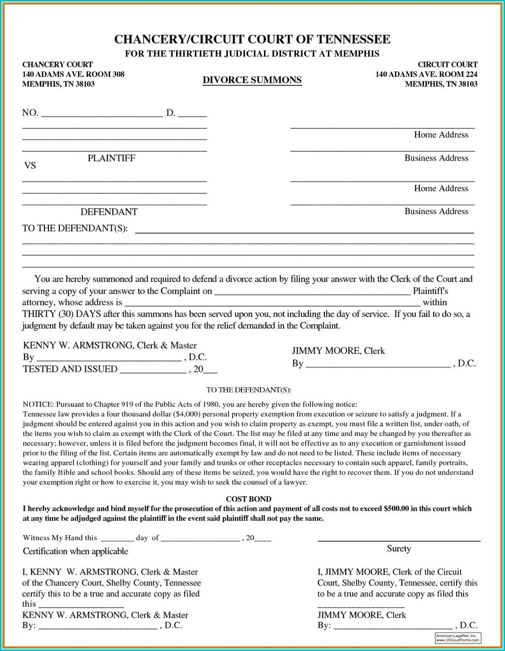 Tennessee Divorce Forms With Child