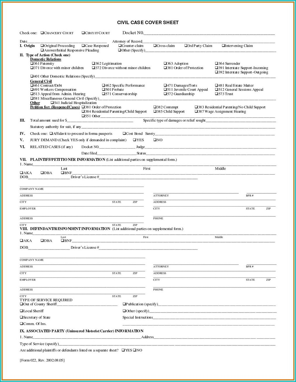 Tennessee Divorce Forms