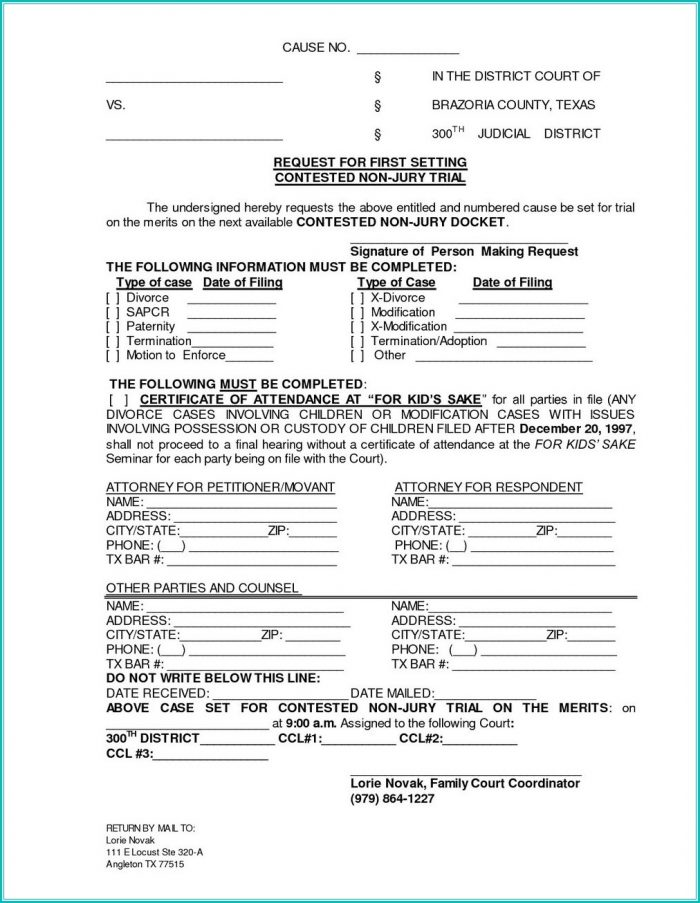Texas Divorce Forms With Child