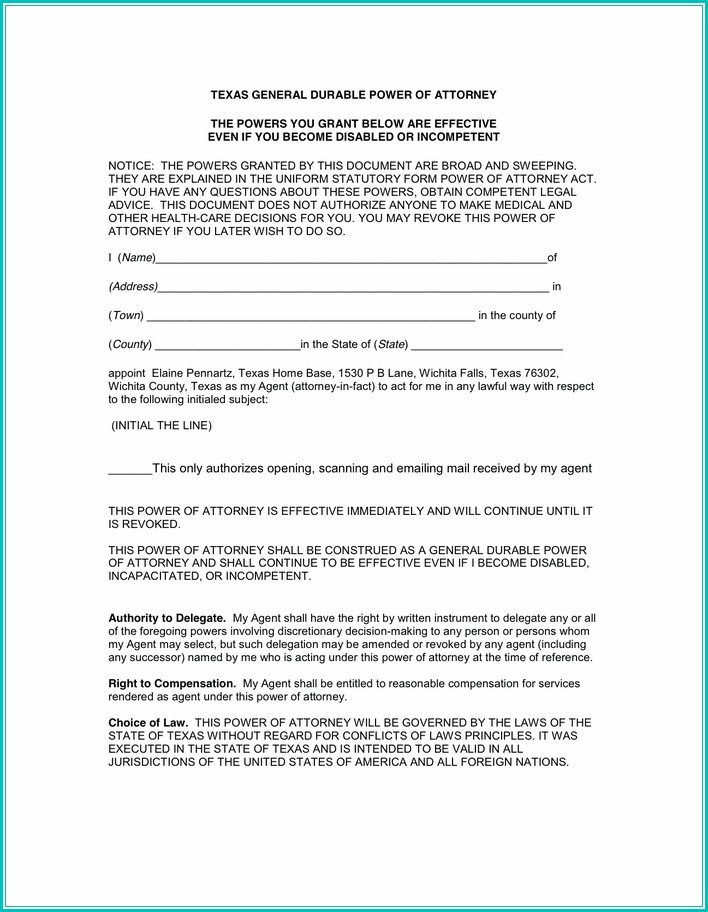 Texas Durable Power Of Attorney Form 2017