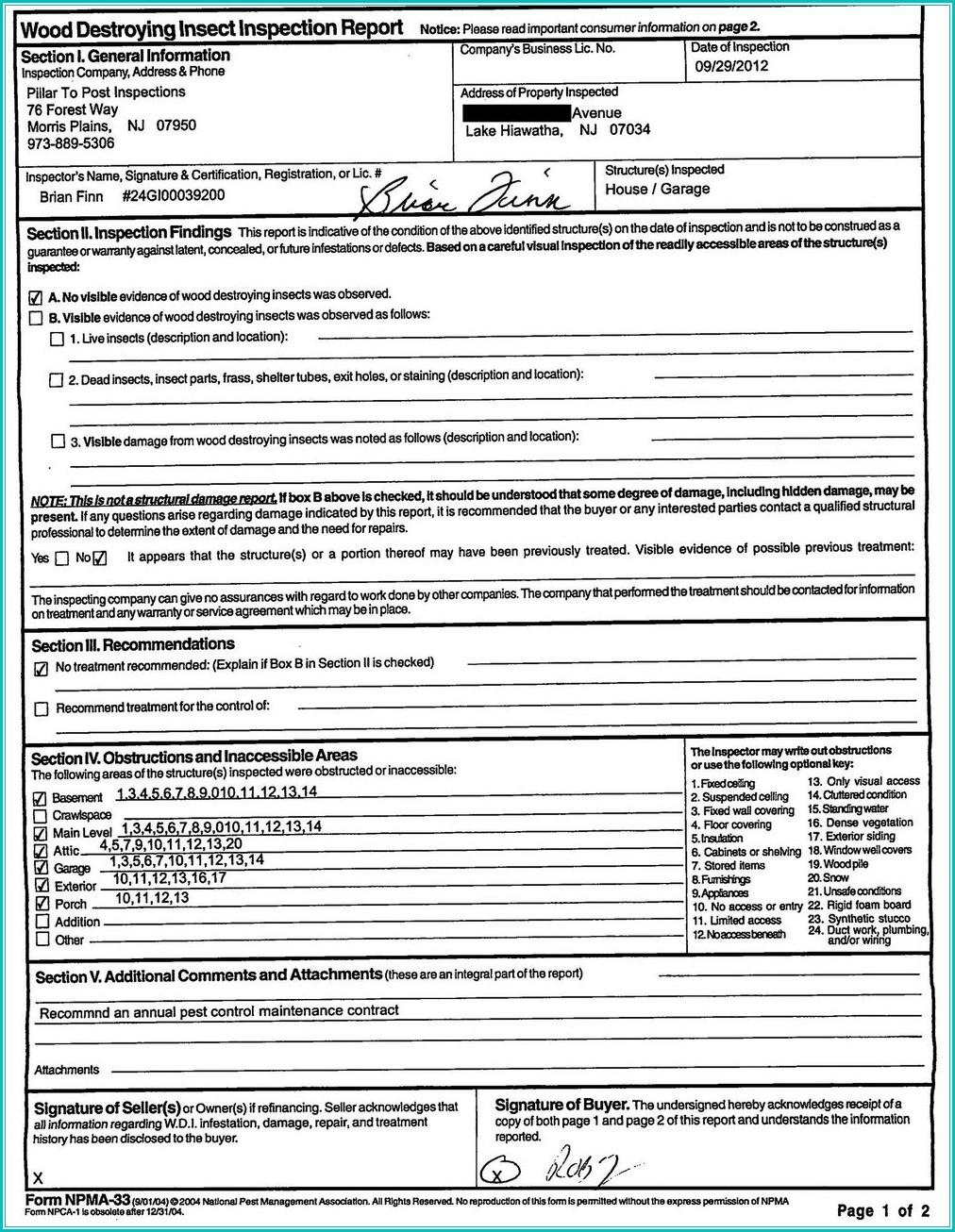 Va Termite Inspection Form Npma 33