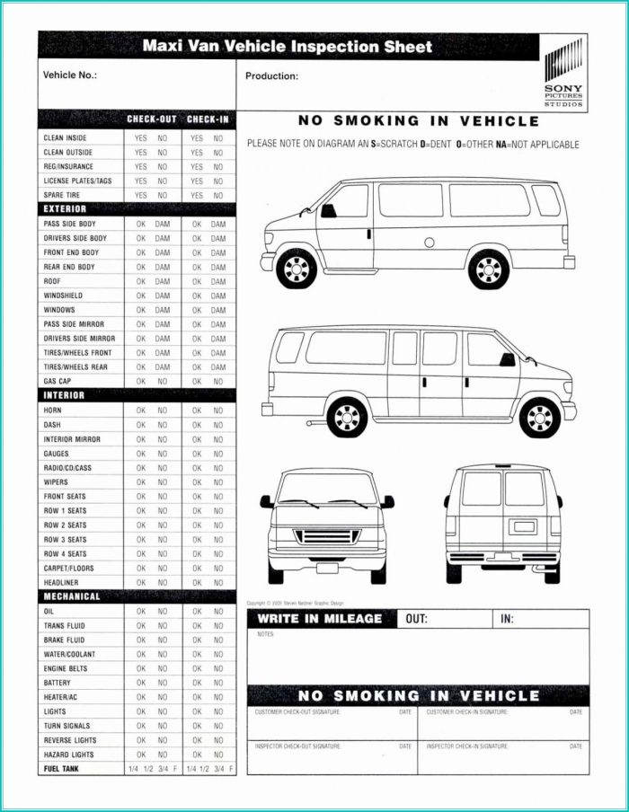 Vehicle Inspection Form Template Pdf