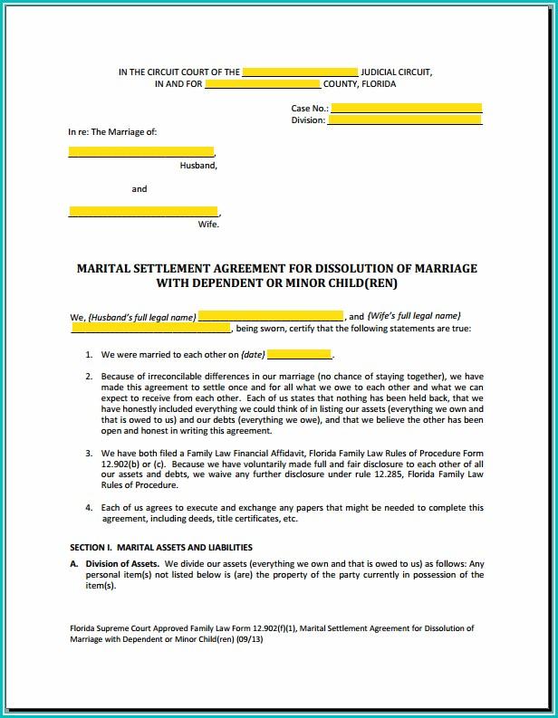 Voluntary Child Custody Agreement Form Florida