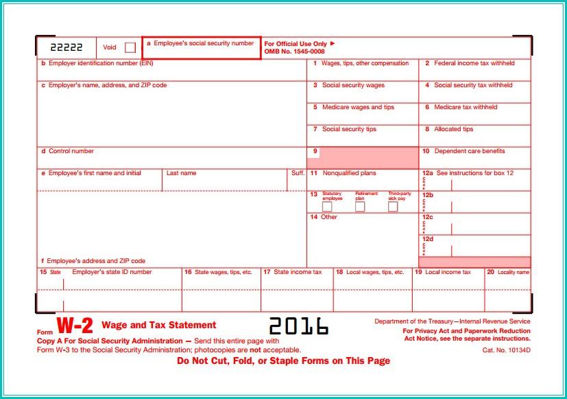 W2 Tax Form 2016