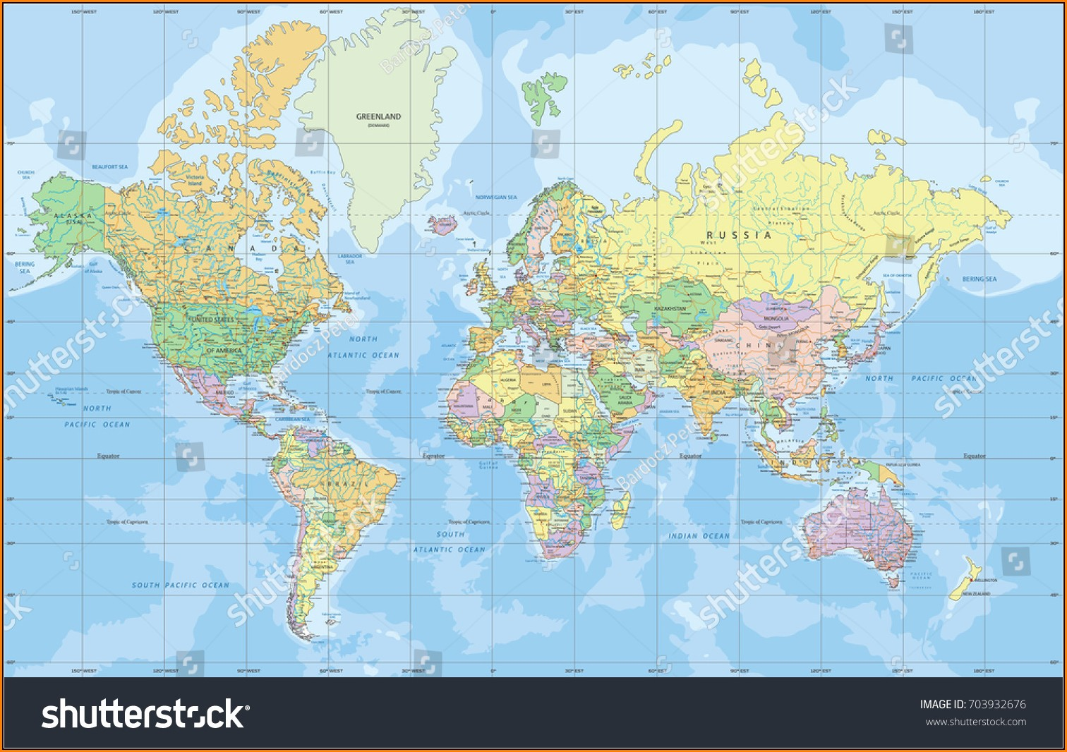 World Political Map Mercator Projection