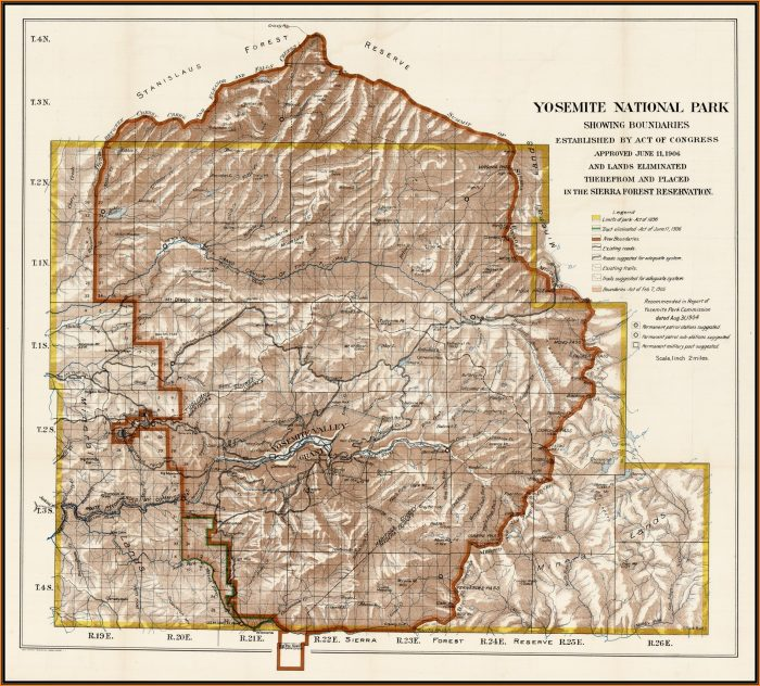 Yosemite National Park Boundaries Map