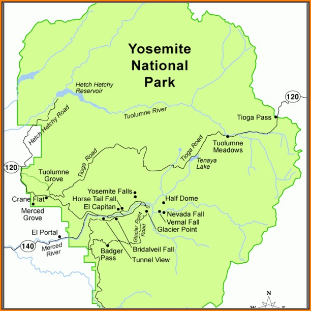 Yosemite National Park Lodging Map