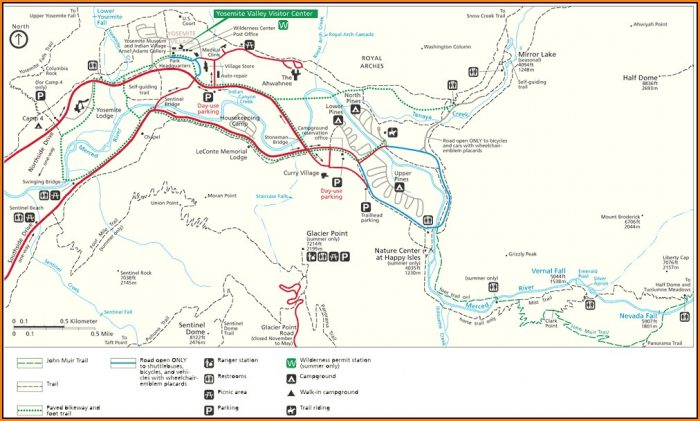 Yosemite National Park Trail Map