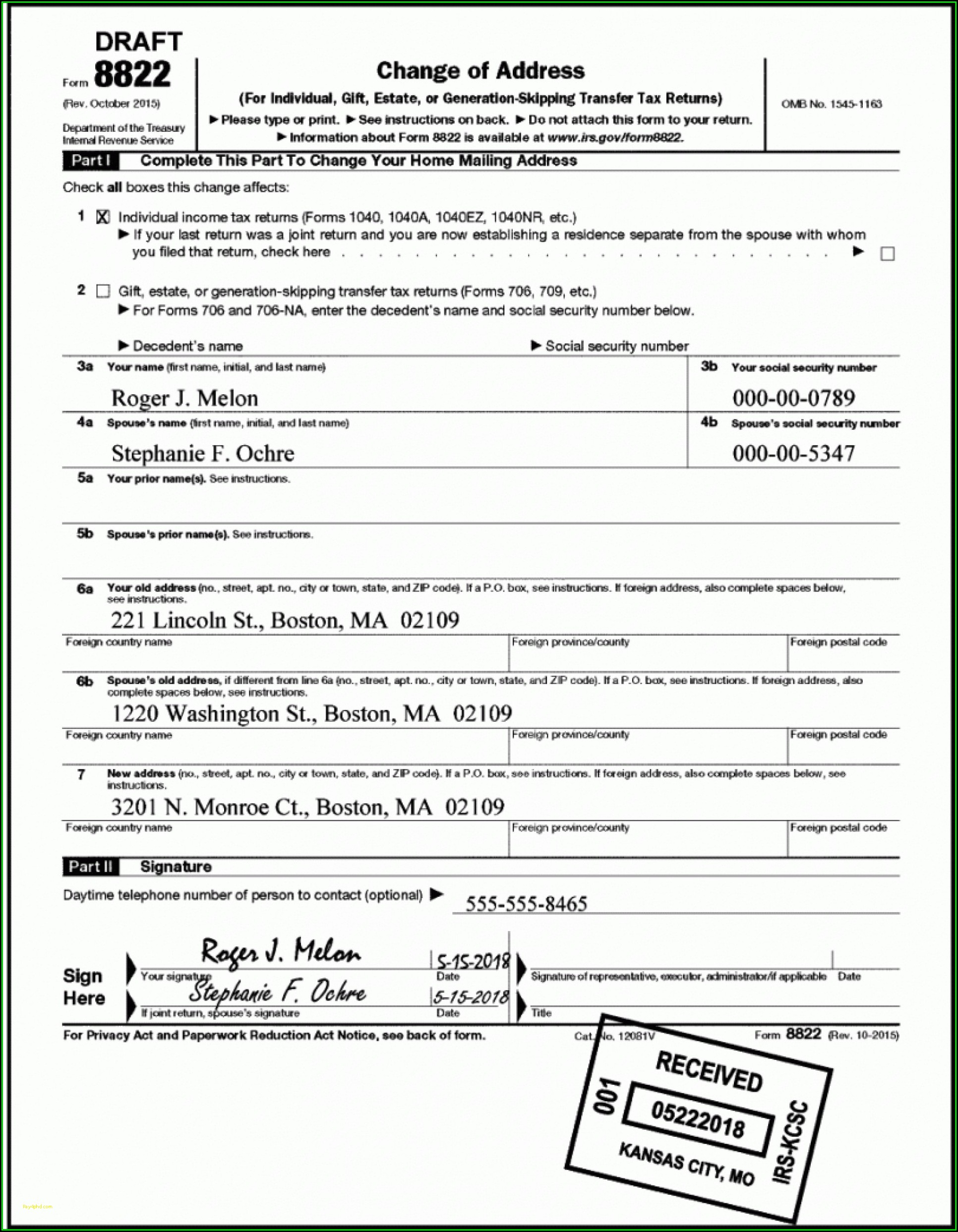 1040a Tax Form Example
