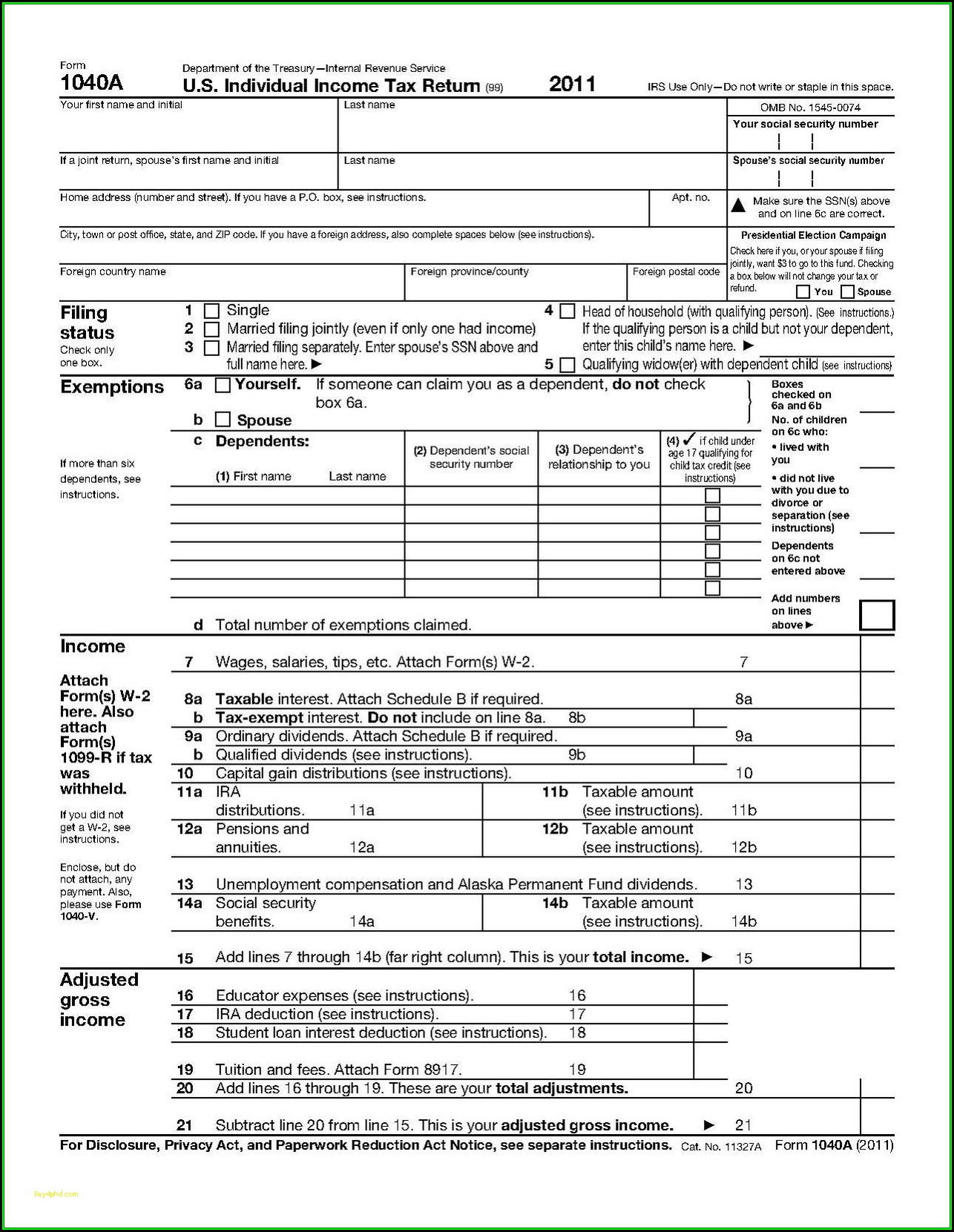 2013 Form 1040a