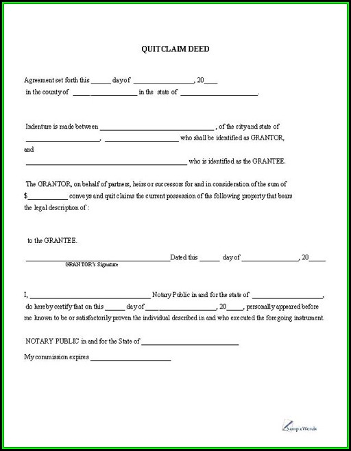 A Quit Claim Deed Form
