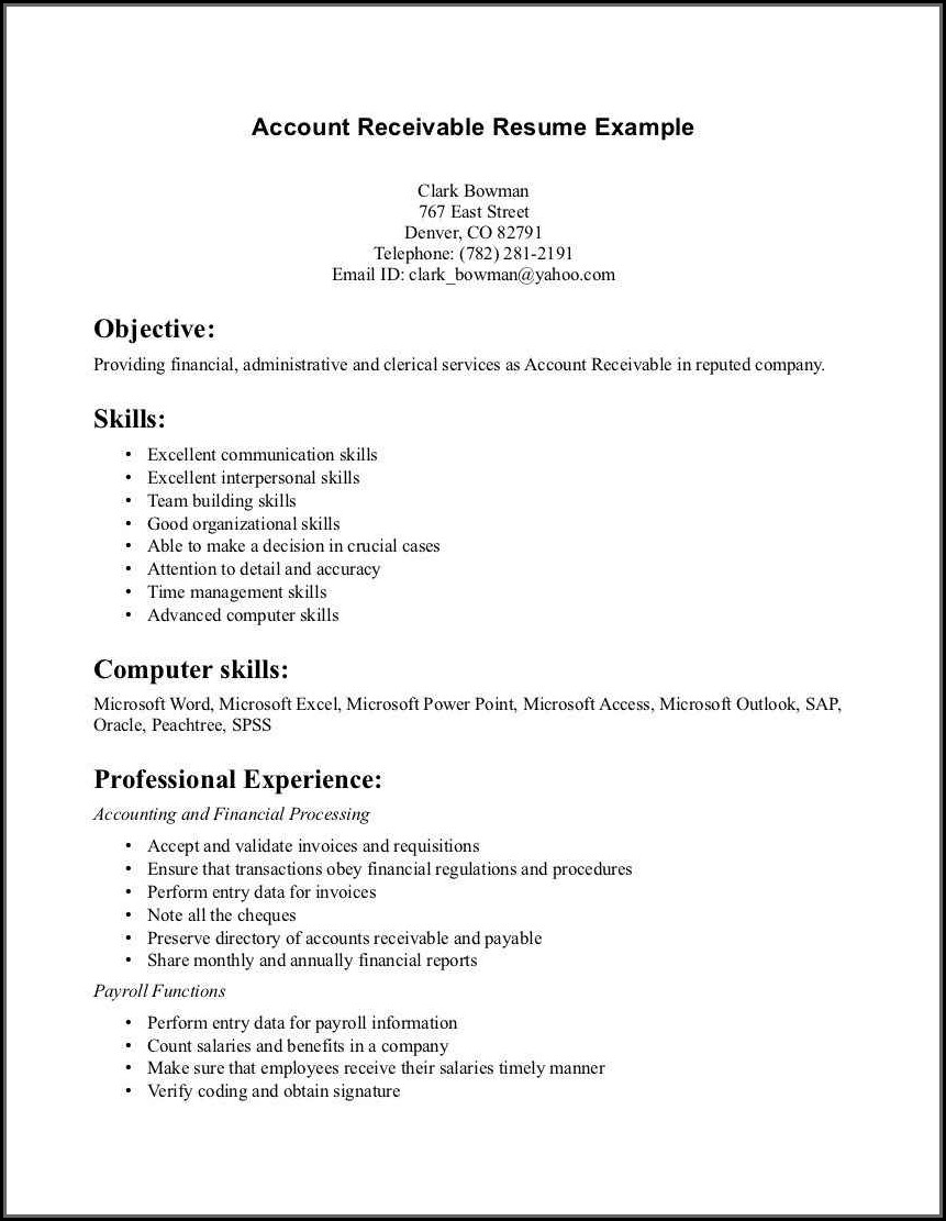 Accounts Payable Resume Pdf