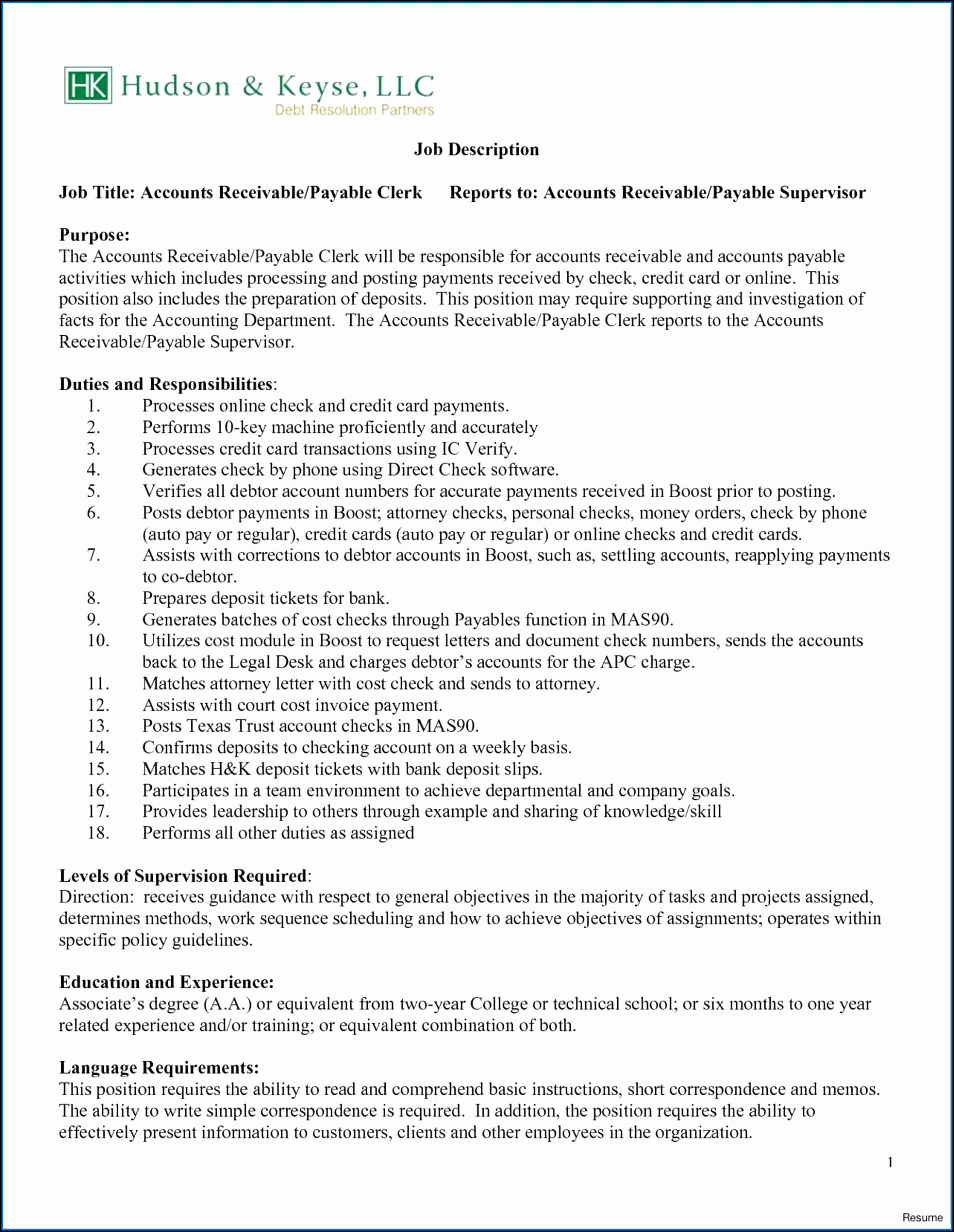 Accounts Payable Resumes Samples