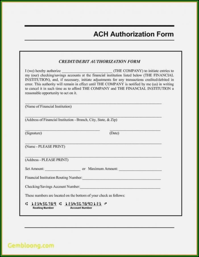 Ach Deposit Authorization Form