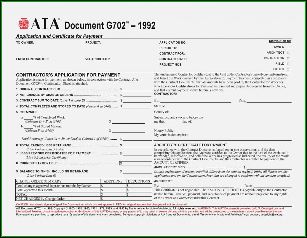 Aia Standard Invoice Form