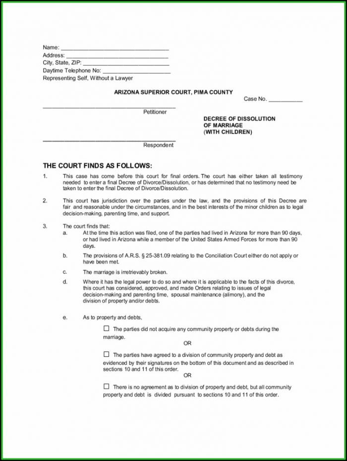 Arizona Divorce Forms Pdf
