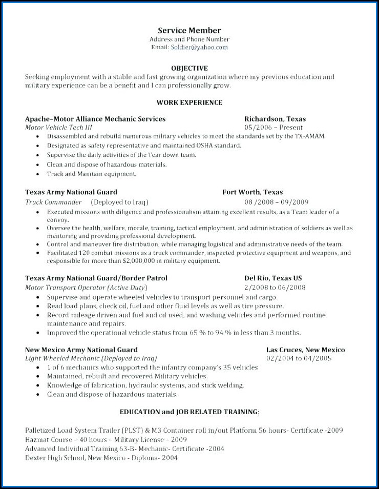 army mos resume builder
