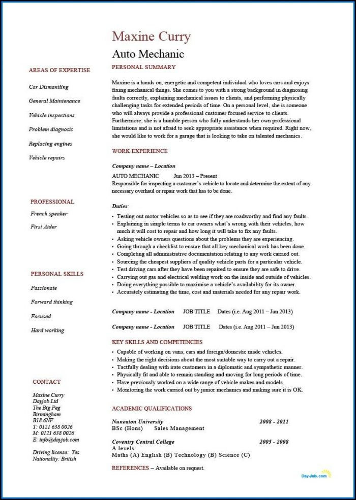 Auto Mechanic Cv Template