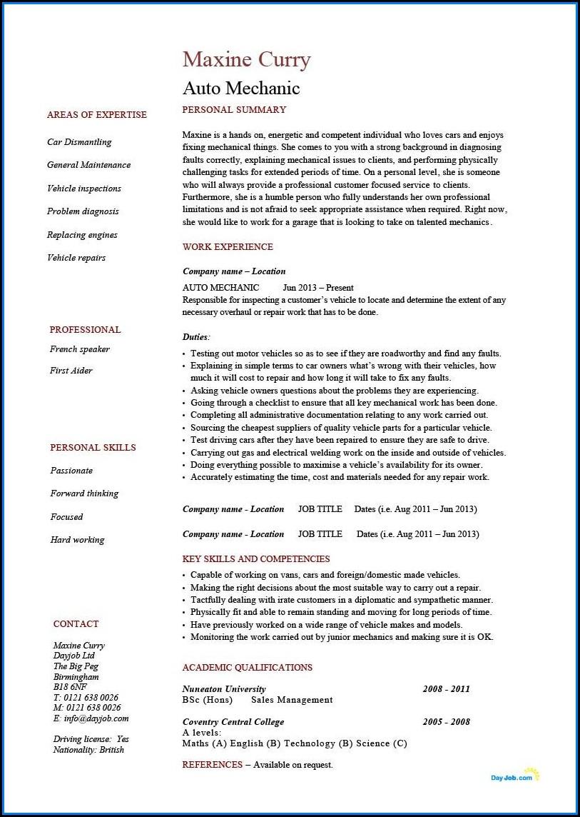 Auto Mechanic Resume Template