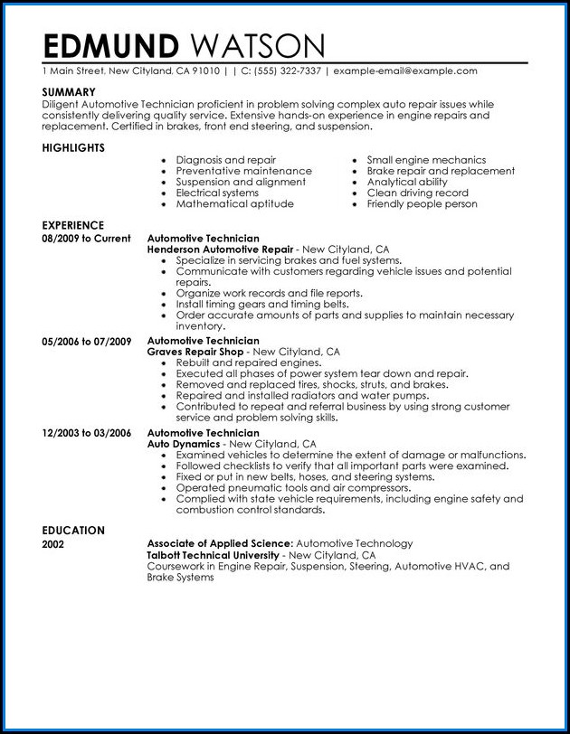 Auto Technician Resume Templates