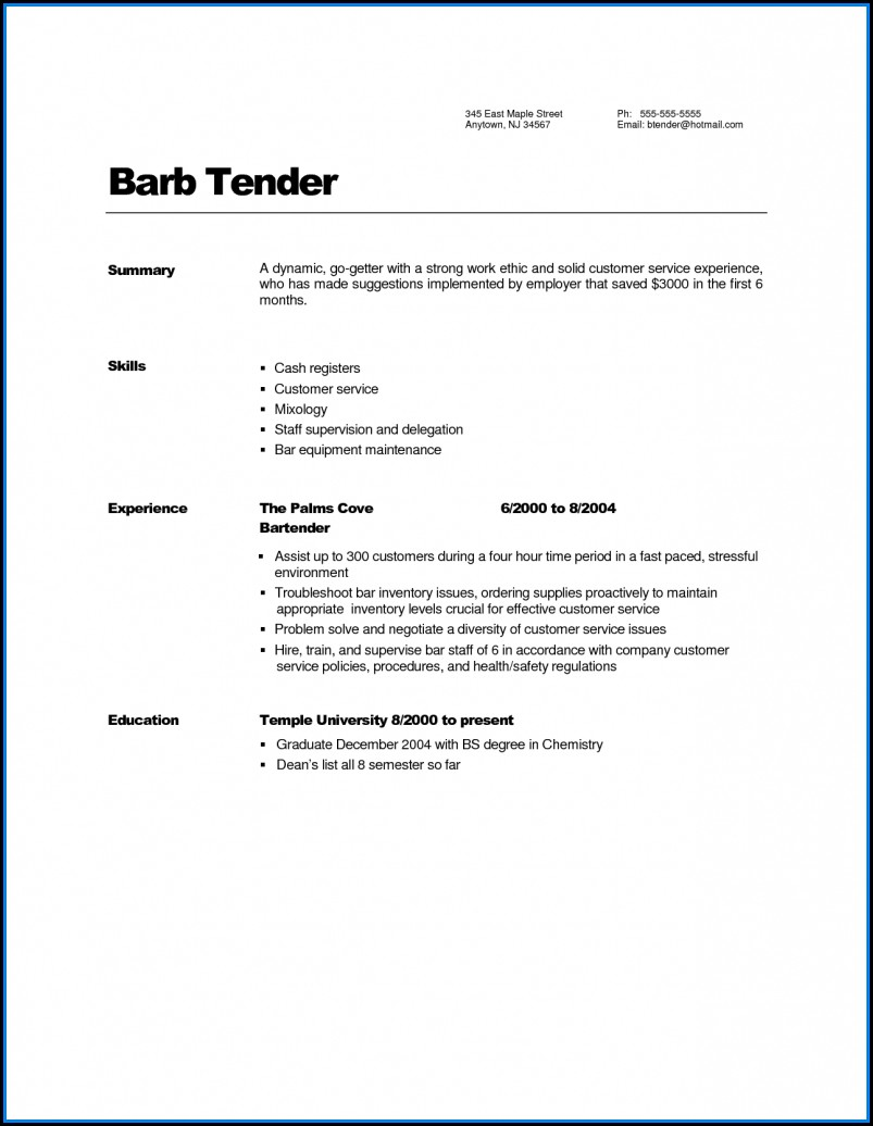 Bartender Resume Builder