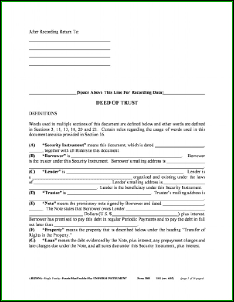 Beneficiary Deed Form Az