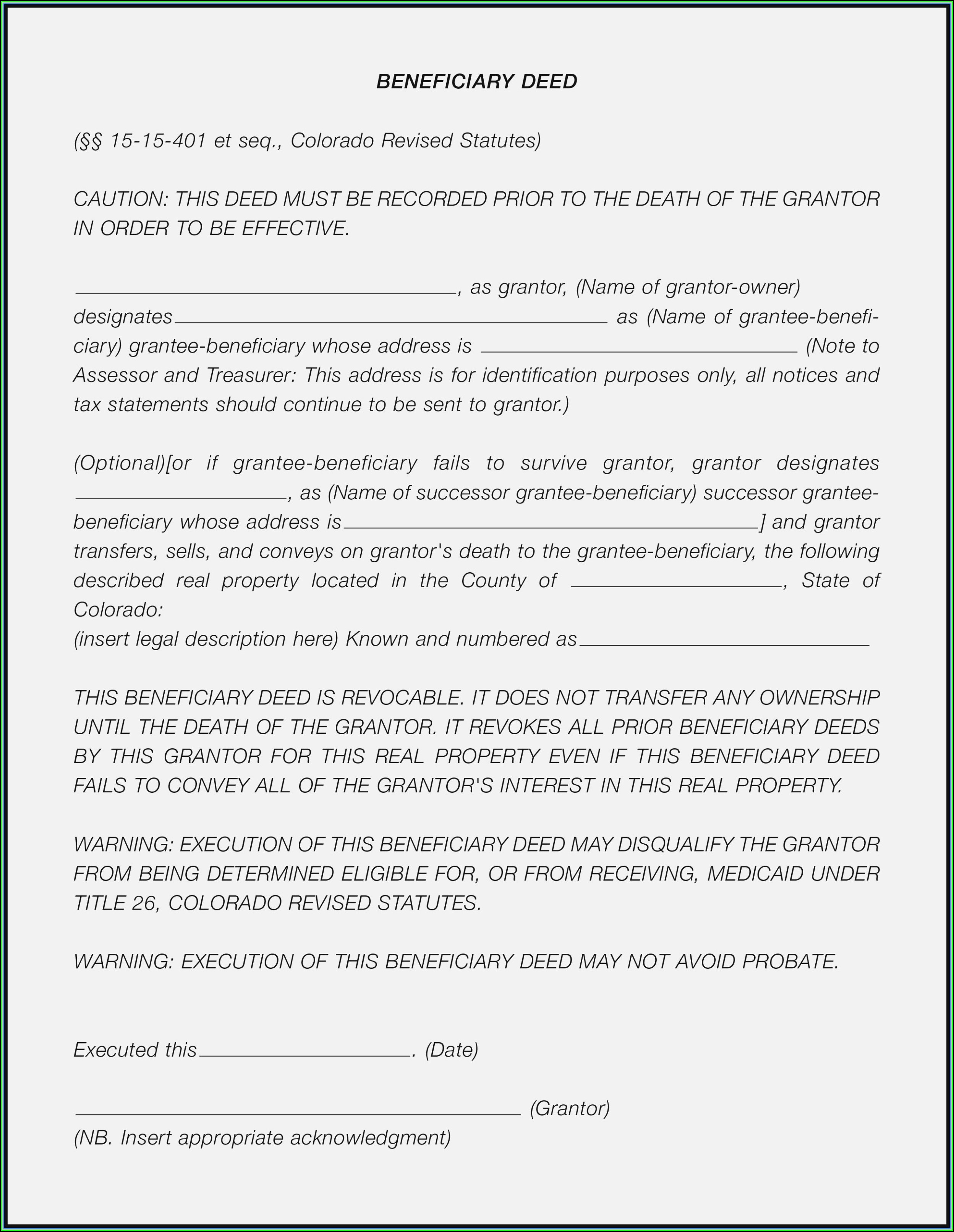 Beneficiary Deed Form Colorado