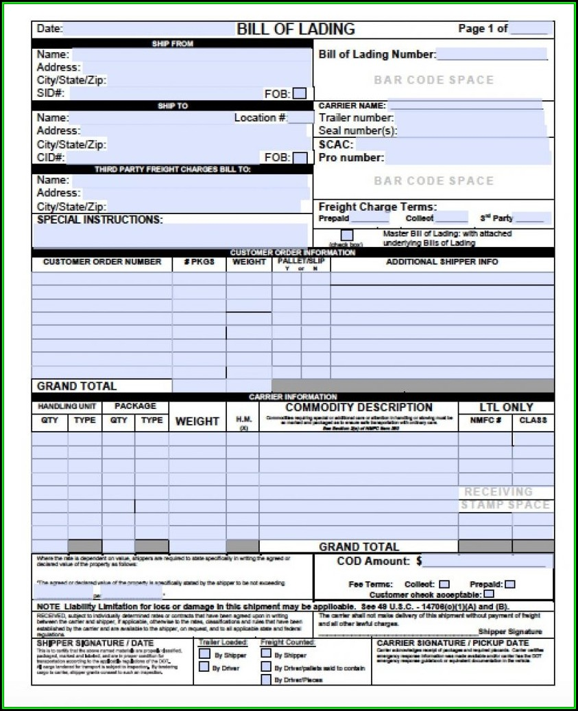Blank Bill Of Lading Template Free