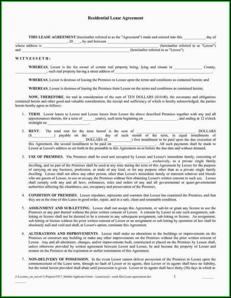 Blank Lease Agreement Form Free