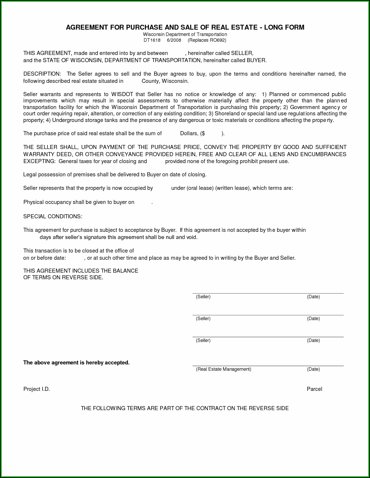 Blank Purchase Agreement Form