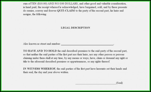 Blank Quit Claim Deed Form Arizona