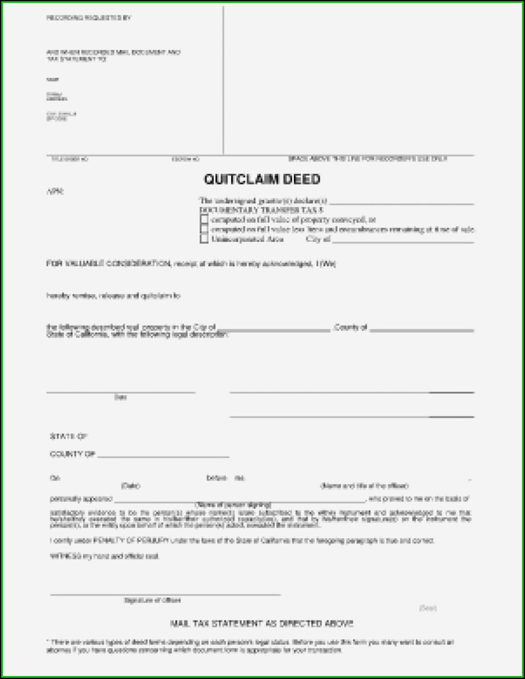 Blank Quit Claim Deed Form California