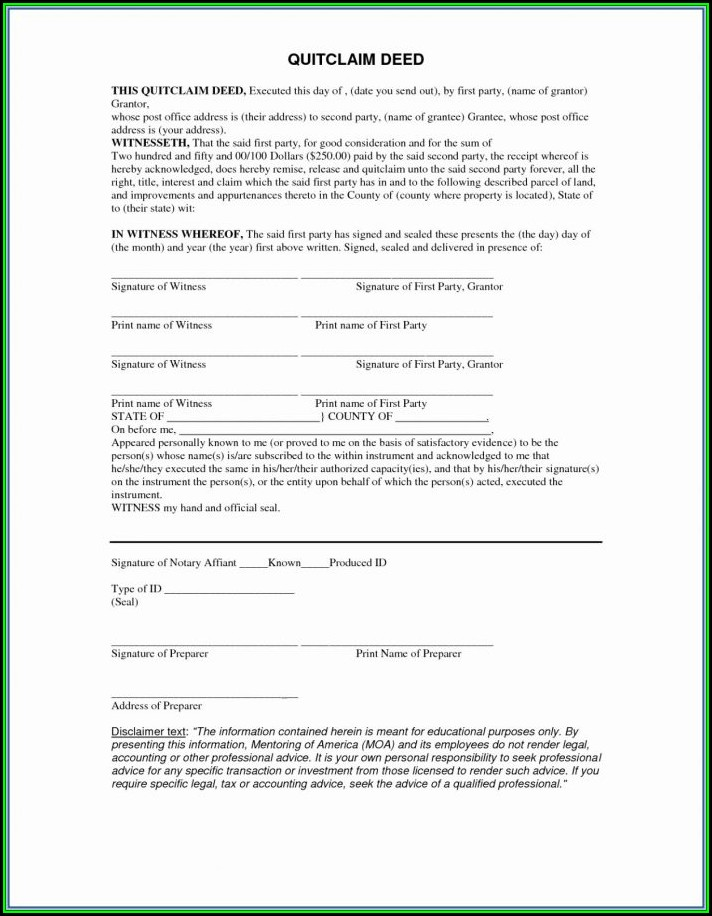 Blank Quit Claim Deed Form Michigan