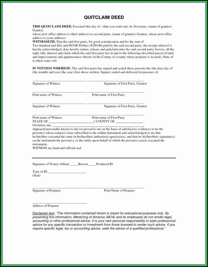 Blank Quit Claim Deed Form Michigan