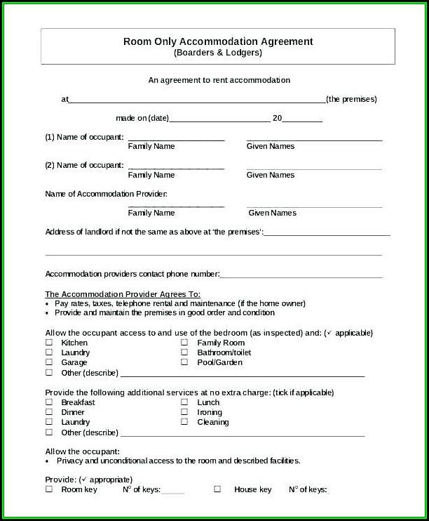 Blank Room Rental Agreement Form