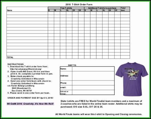 Blank T Shirt Order Form Pdf