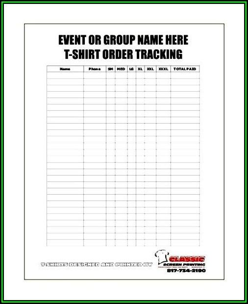 Blank T Shirt Order Form Sample