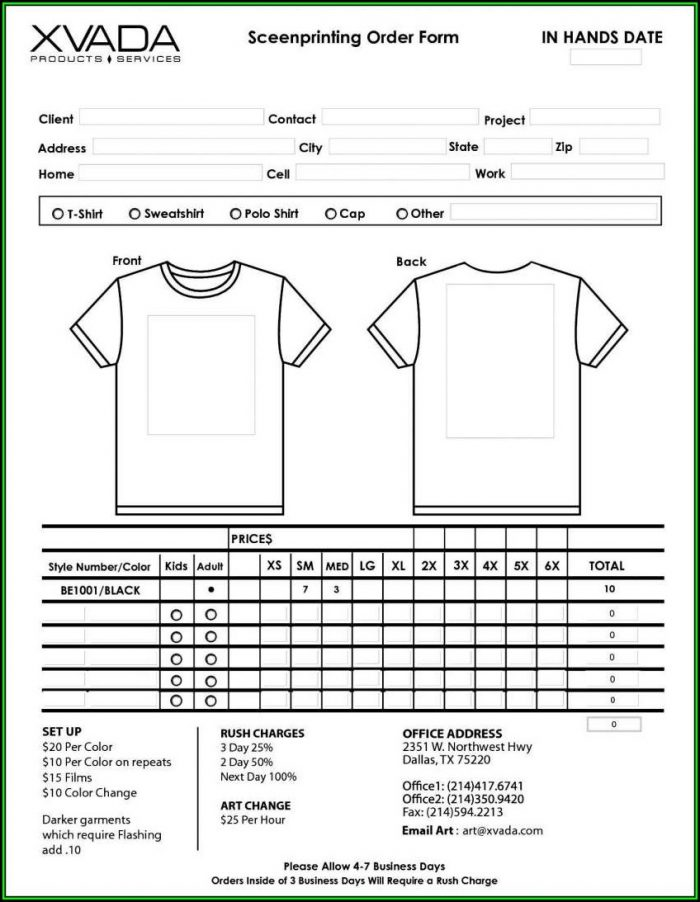 Blank T Shirt Order Form Template Word