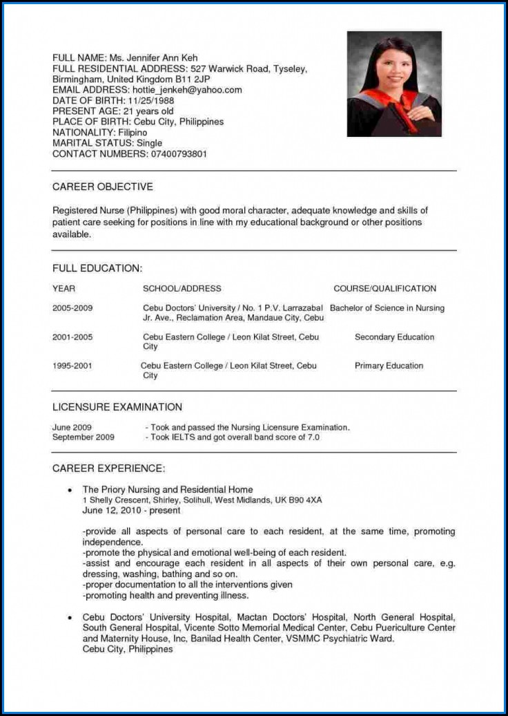 Bsc Nursing Resume Format For Experienced Pdf
