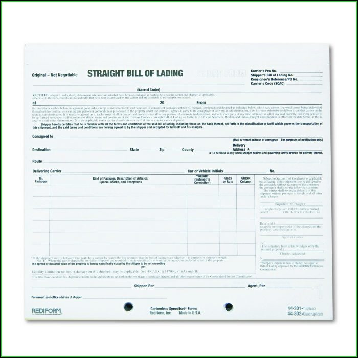 Carbonless Bill Of Lading Forms