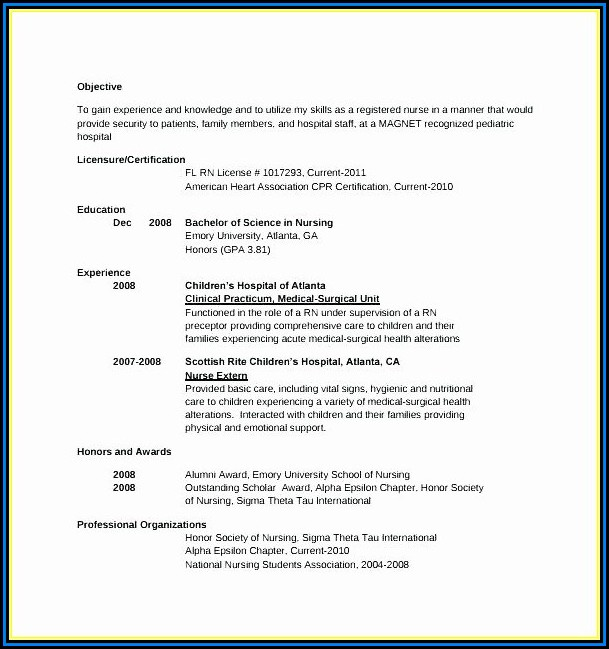 Cna Resume For Hospital Job