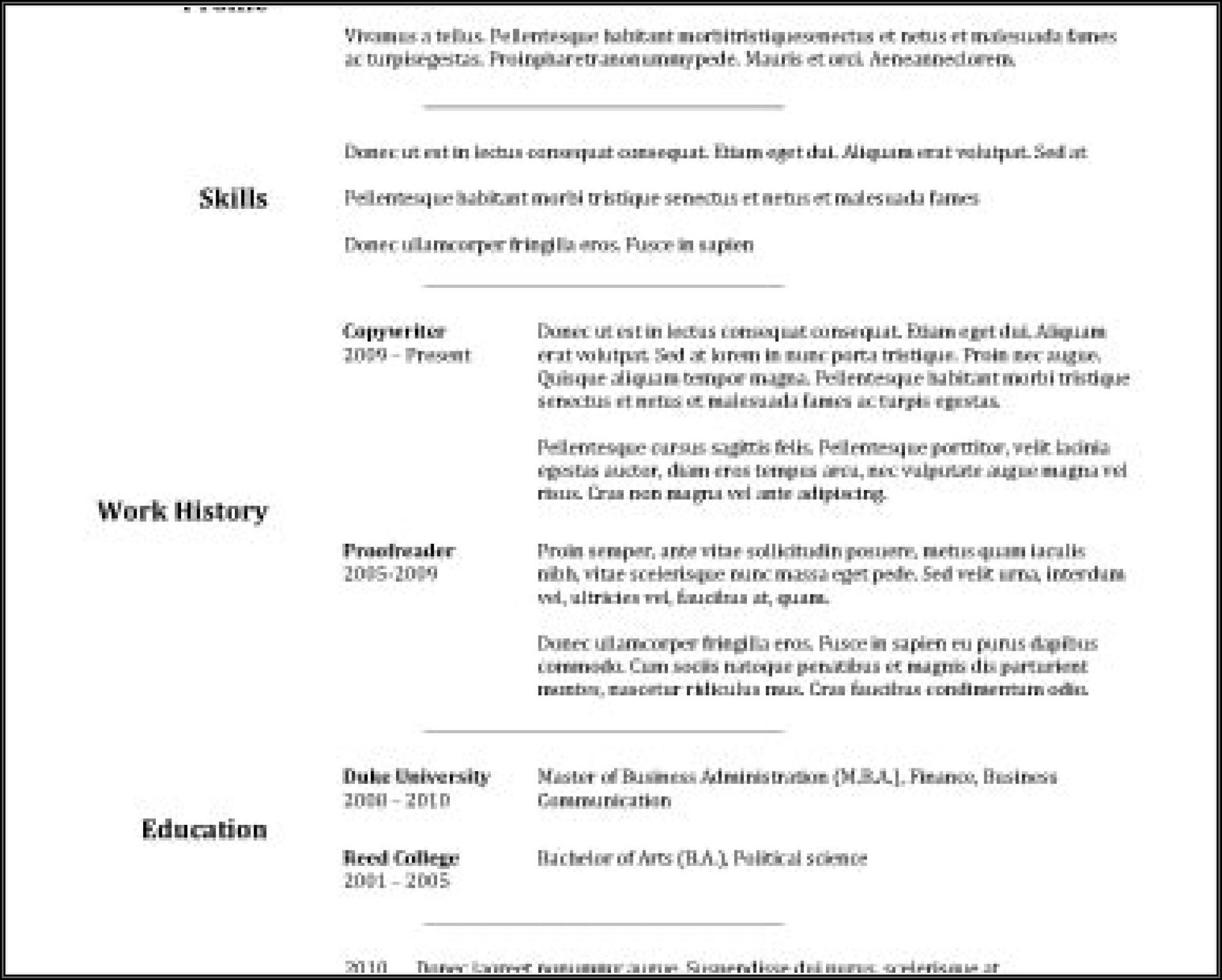 Completely Free Printable Resume Builder