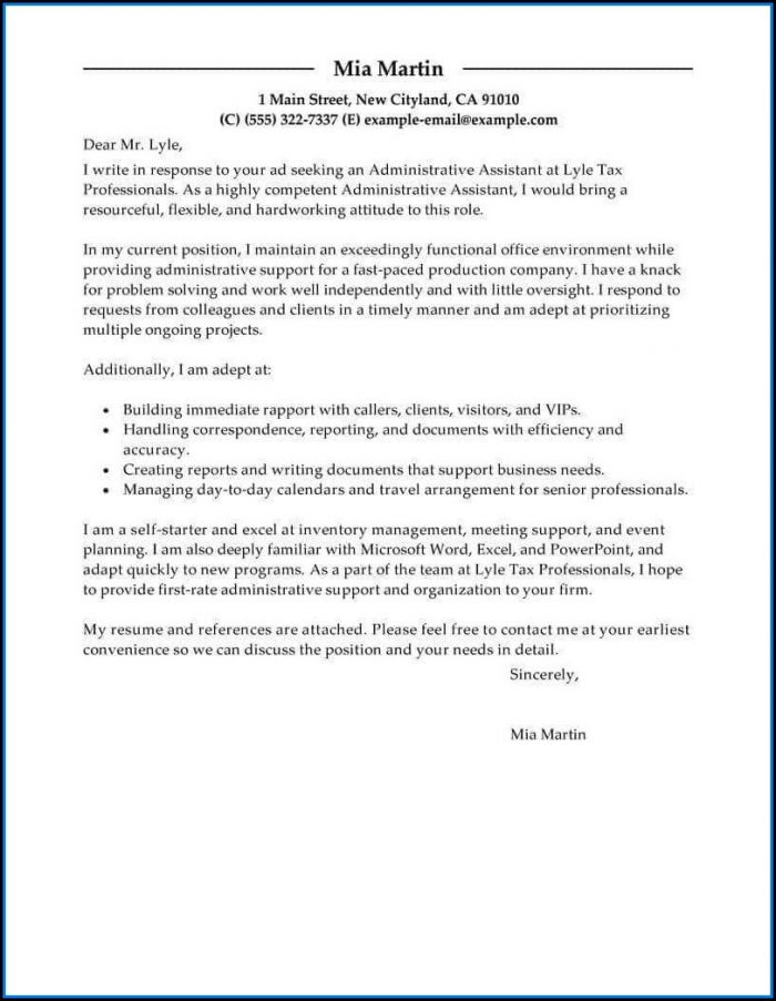 Cover Letter Samples For Resume