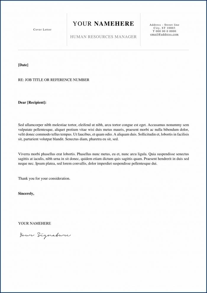 Cover Letter Template For Resume Free