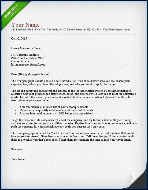 Cover Letter Templates For Resume
