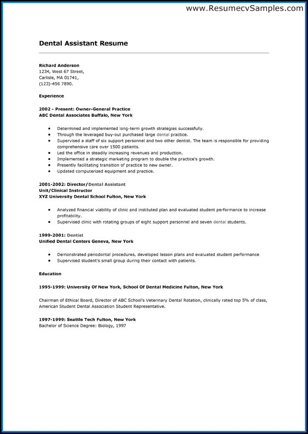 Dental School Resume Template